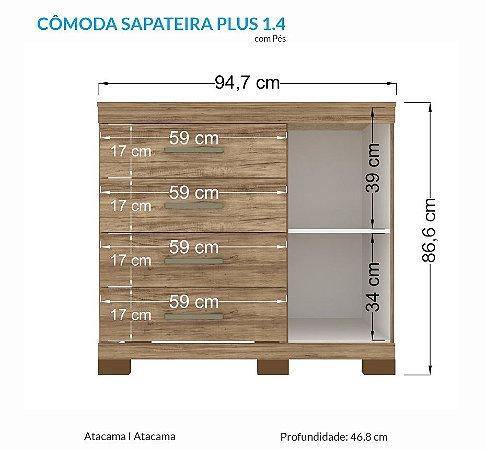 Cômoda Sapateira Plus com Pés Atacama Santos Andirá