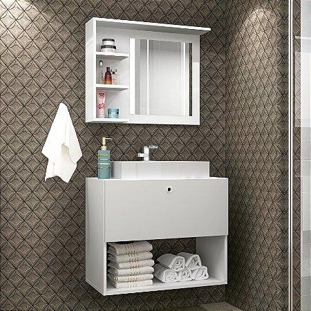Conjunto Gabinete e Espelheira  Para Banheiro Branco - BRV Móveis