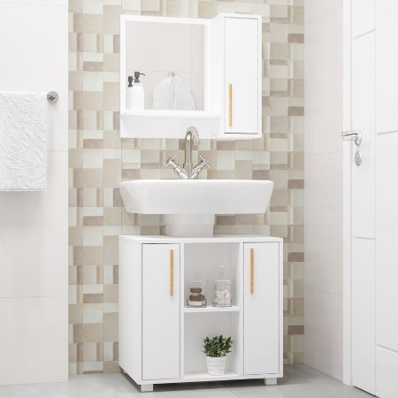 Gabinete Para Banheiro  2 Portas Branco - BRV Móveis