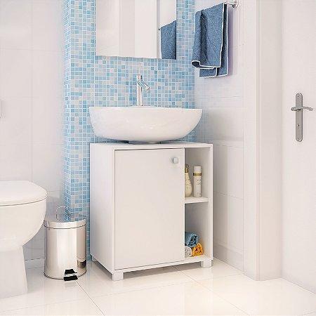 Gabinete Para Banheiro 1 Porta 2 Nichos Branco - BRV Móveis