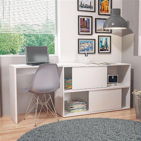 Mesa de Computador 2 Portas de Correr Office Branco - BRV Móveis