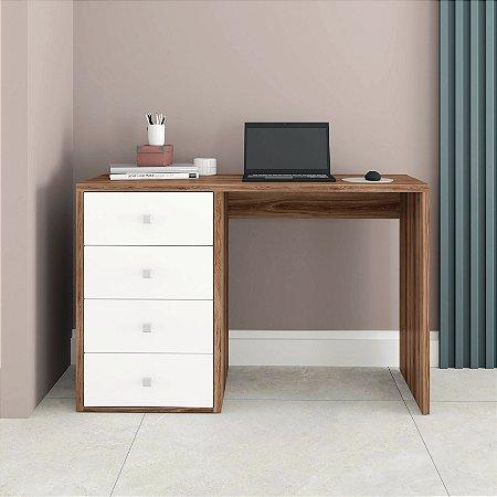 Mesa de Computador 4 Gavetas Office Castanho/Branco - BRV Móveis