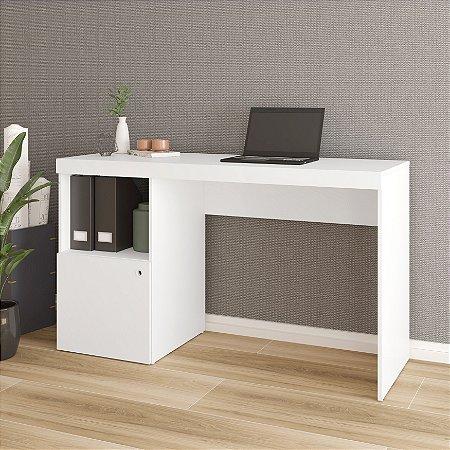 Escrivaninha 1 Porta 2 Nichos Office Branco com Bordas  - BRV Móveis
