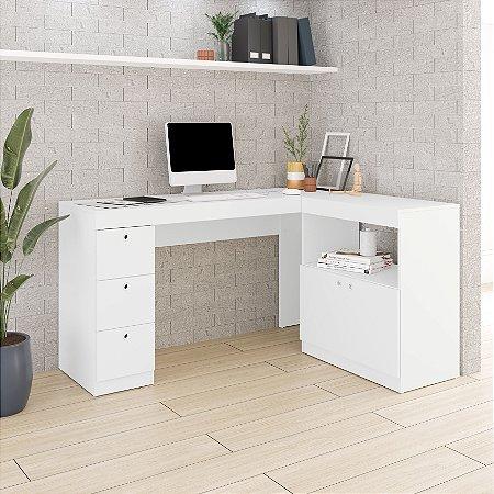 Escrivaninha 2 Portas 3 Gavetas Office  Branco- BRV Móveis