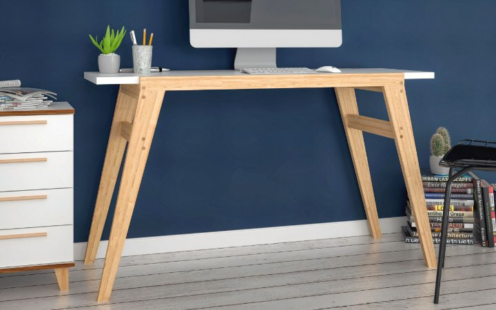 Mesa de Computador Office Branco com Pinus Claro - BRV Móveis