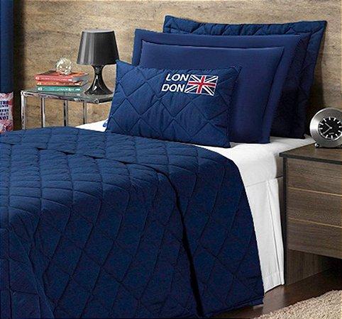 Cobre Leito London Solteiro 04 Peças - Azul Marinho