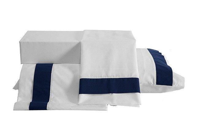 Jogo de Lençol Portinari Queen 04 Peças - Azul Marinho
