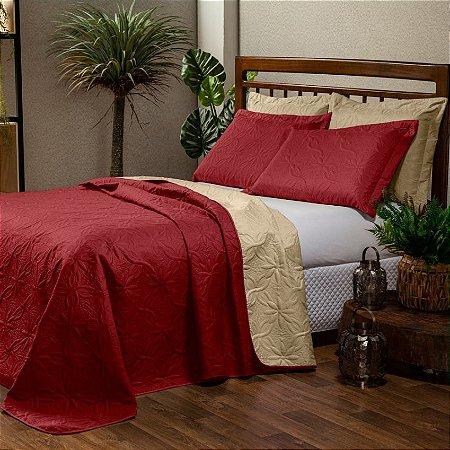 Cobre leito Dupla Face Floral Casal Queen 3 peças - Vermelho