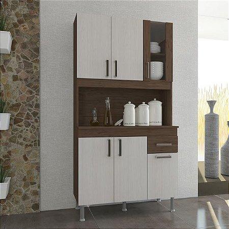 Armário de cozinha Lion Indekes 6 portas  1 Gaveta Noce Salina Noce