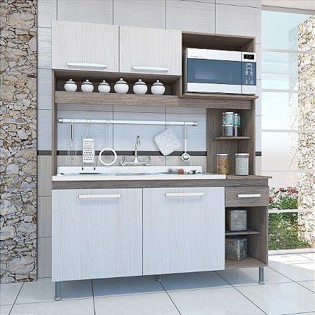 Armário de  cozinha Isadora 4 portas Indekes Nogal Salina Nogal