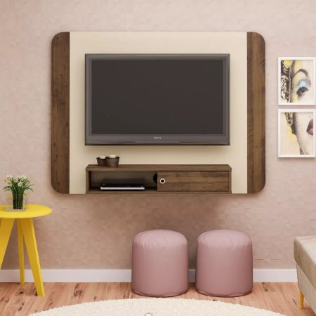 Painel Para Tv 50 Polegadas  Wave Artely Off White Pinho