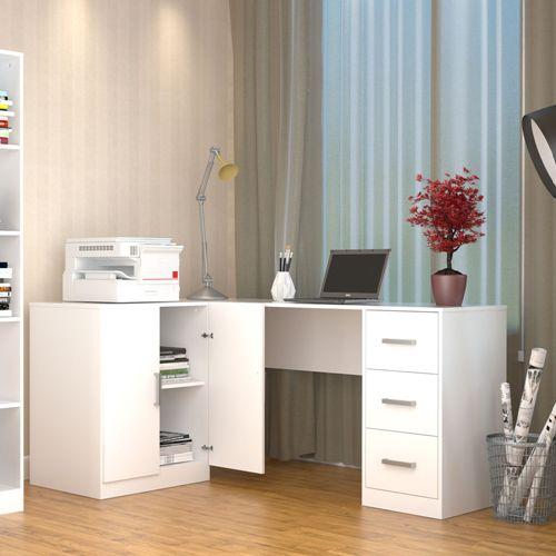 Mesa de Escritorio em L 3 Gavetas Appunto Office Plus Branco