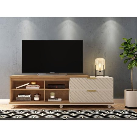 Bancada Para TV 55 Polegadas Harmony Buriti / Off White