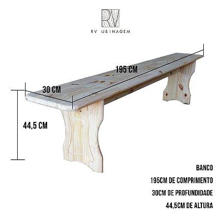 Conjunto De  Banco 2 Peças  195 cm  Rústico Pinus RV