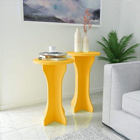 Kit mesa de Apoio Luck 2 Peças Artely Amarelo