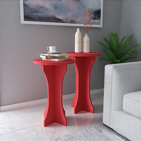 Kit mesa de Apoio Luck 2 Peças Artely Vermelho