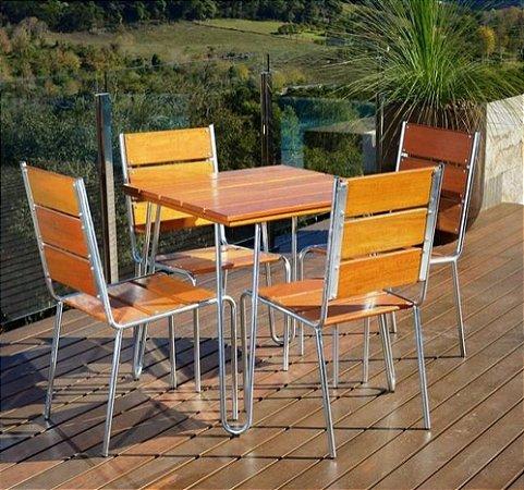 Mesa de Jardim 4 Cadeiras Estrutura em Aço e Eucalipto  Pressa