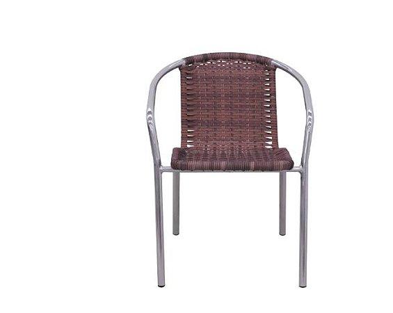 Kit 2 Cadeiras de Alumínio e Fribra Sintética Pressa Castanho