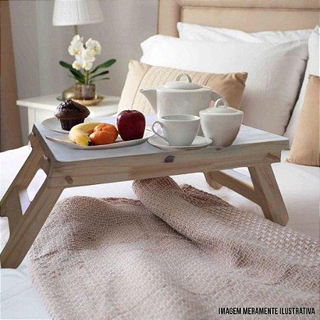 Mesa Para Servir  Café da Manhã na Cama Madeira Natural Rústico