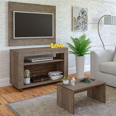 Rack De TV 32  com Painel e Mesa de Centro Cristal Artely Canela