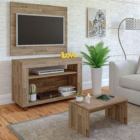 Rack De TV 32  com Painel e Mesa de Centro Cristal Artely Rústico