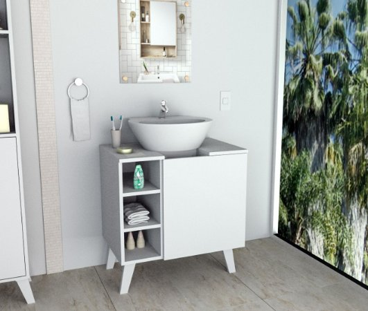 Gabinete De  Banheiro Slim  Branco   Appunto