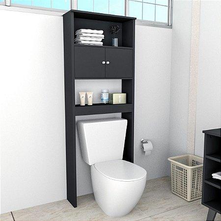 Armário Banheiro Com 2 Portas e 3 Prateleiras Slim Preto Appunto
