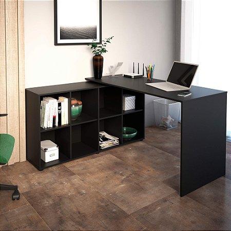Mesa Para Escritório Em L Nero Artany Preto