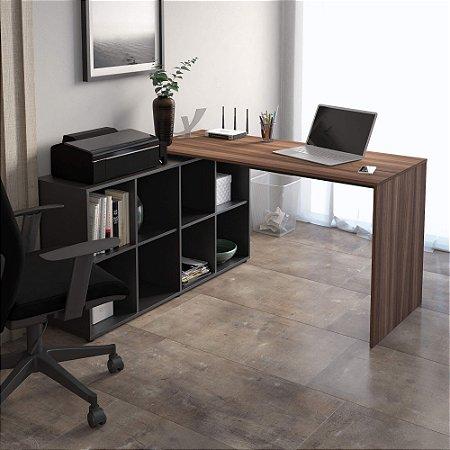 Mesa Para Escritório em L  Nero Artany Ypê/Preto