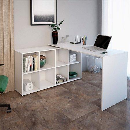Mesa De Escritório Em L  Nero Artany Branco