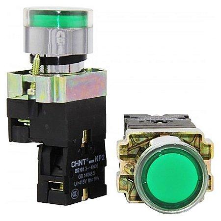 Botão De Comando Com Luminoso Verde Cabeça Metálica, Marca Chint