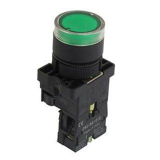 Botão De Comando Com Luminoso Verde Cabeça Plástica, Marca Chint