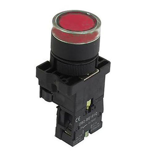 Botão De Comando Com Luminoso Vermelho Cabeça Plástica, Marca Chint