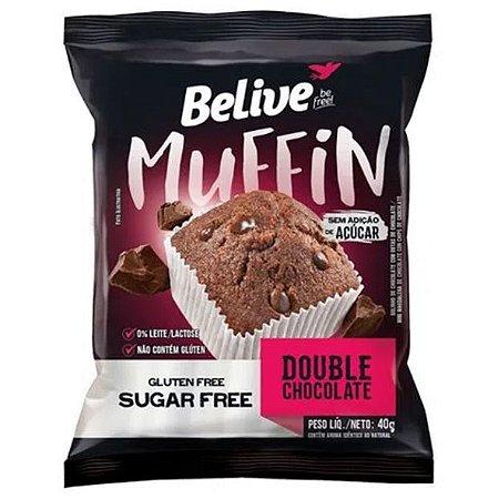 Muffin Double Chocolate sem açúcar, sem glúten, sem leite/lactose 40g - Belive