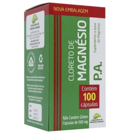 Cloreto de Magnésio P.A – Suplemento a base de magnésio – 100 cápsulas de 500mg cada – Laboratório da medicina natural.