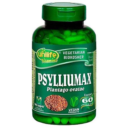 Psylliumax - psyllium em cápsulas (Plantago ovatae) – 60 cápsulas de 550mg cada – Unilife.