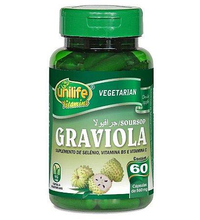 Graviola com selênio, vitamina B5 e vitamina C – 60 cápsulas de 500mg cada – Unilife.