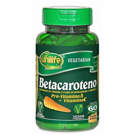 Betacaroteno + vitamina C – 60 comprimidos de 500mg cada – Unilife.