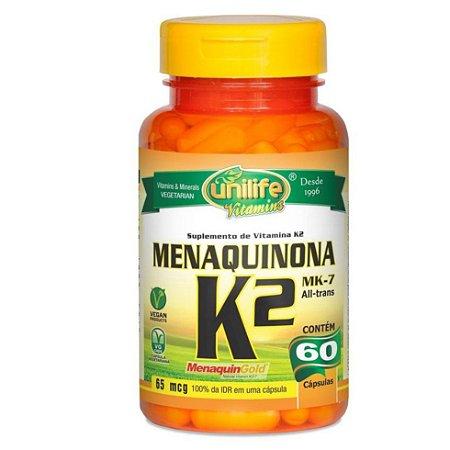 Suplemento de vitamina K2 Menaquinona – Contém 60 cápsulas de 500mg – Unilife Vitamins