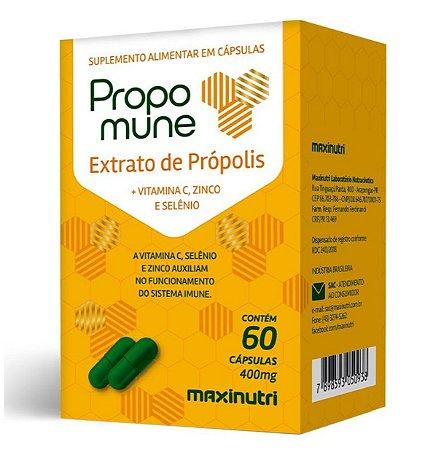 Propomune Extrato de Própolis + Vitamina C, Zinco e Selênio  60 cápsulas de 400mg – Maxinutri.