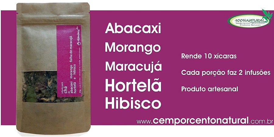 Blend para Infusão: Abacaxi, morango, folha de maracujá, hortelã e hibisco 20g – Blenderia Curitiba.