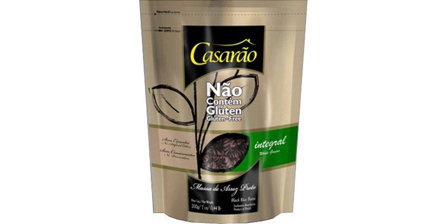Massa de arroz preto integral sem glúten tipo macarrão fusilli, livre de alergênicos, 200g - Casarão