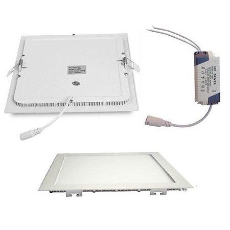 Kit 5 pçs Luminária Painel Led Plafon De Embutir Quadrado 25w Branco Quente - Embutir Led 25w Quadrado