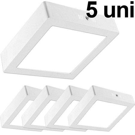 Kit 5 Luminária Painel Plafon Quadrado Sobrepor Led 18W Branco Quente Bivolt