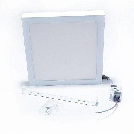 Plafon De Led Quadrado Sobrepor De 18w 3000k Br/quente