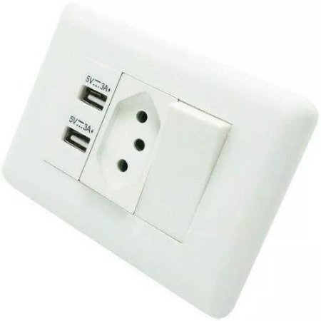 Tomadas Com Interruptor Com 2 Entradas USB 5V 2.1A 023