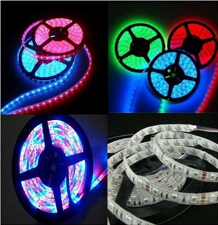 Fita LED RGB 5050 5mts 12V Sem Silicone + Fonte