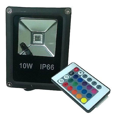Refletor Holofote Led 10w Rgb Colorido C/ Controle Remoto
