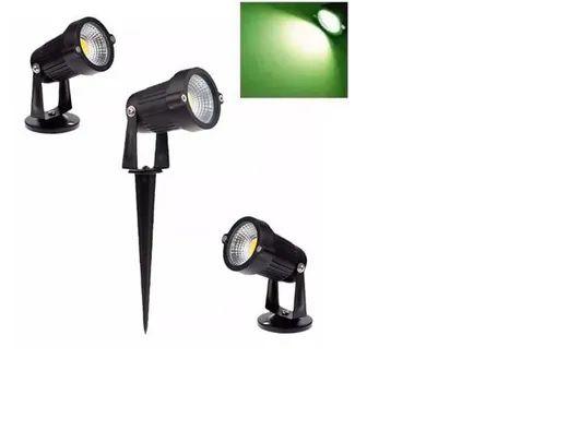 Kit 3 Espeto Luminaria Para Jardim Cob Led 3w Verde