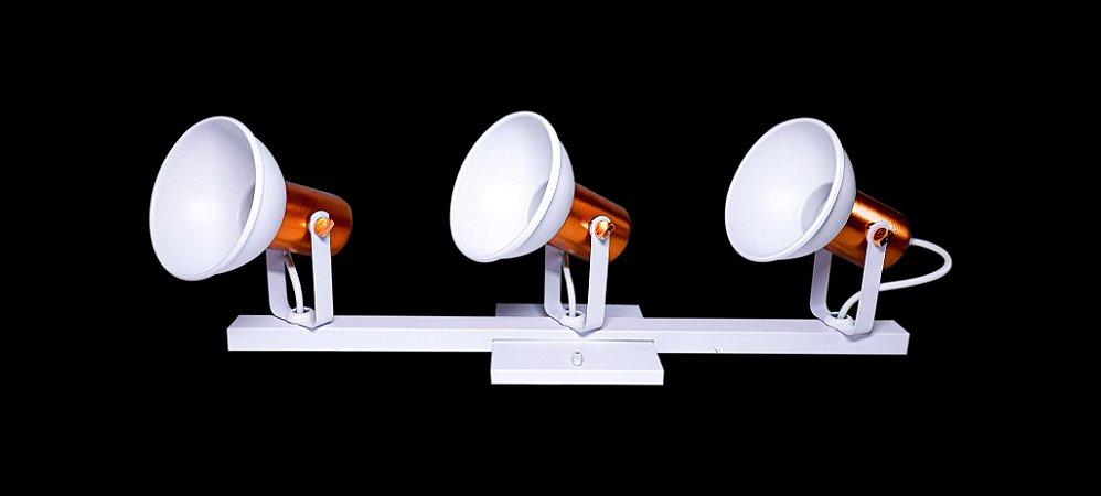 Kit 3 Spot Euroluz Alumínio No Trilho 3x E27 Branco